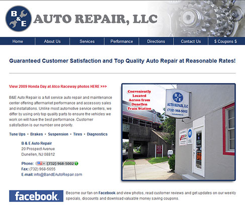 B and E Auto Repair Web Design