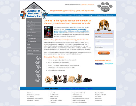 Citizens for Sheltered Animals Web Design