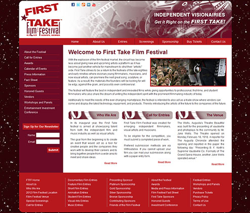 First Take Film Festival Site Design
