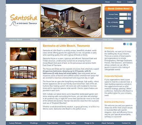 Santosha, at Little Beach, Tasmania Website Design