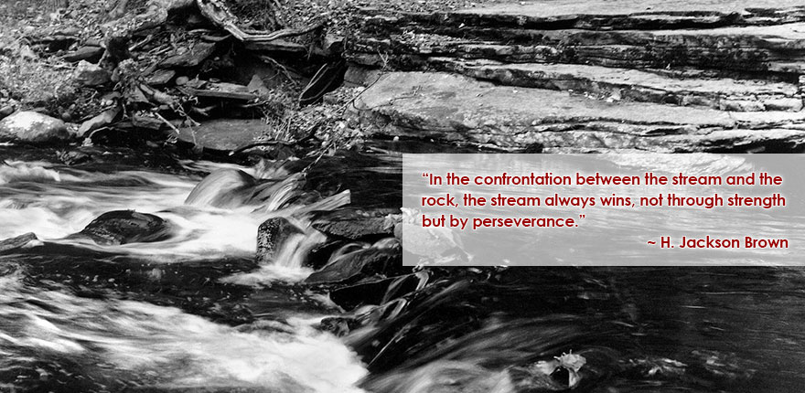 In the confrontation between the stream and the rock, the stream always wins, not through strength but by perseverance. ~ H. Jackson Brown